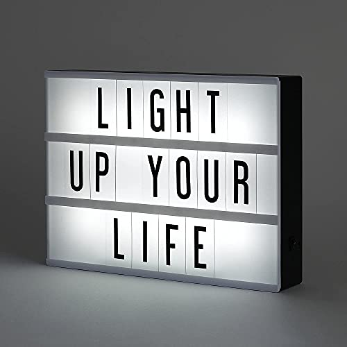 A6 Cinema Light Boxes, Message Light Boxes, Personalized LED Lights, with 192 Letters, Numbers and Symbols. USB or Battery Powered. Used for Family Messages and Decoration. (A6)