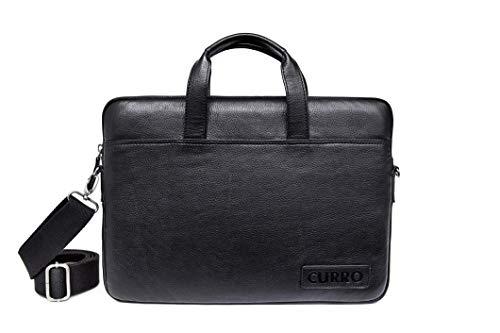 Curro Business-Tasche aus echtem Leder für Notebooks bis 15.6 Zoll, 42 cm, Schwarz (2)