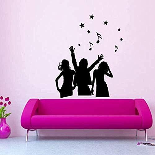 Tänzer Silhouette Frau Mädchen Tänzerin Musik Schlafzimmer Aufkleber Wandkunst Aufkleber Home Wohnzimmer Wandaufkleber 70 X 55Cm