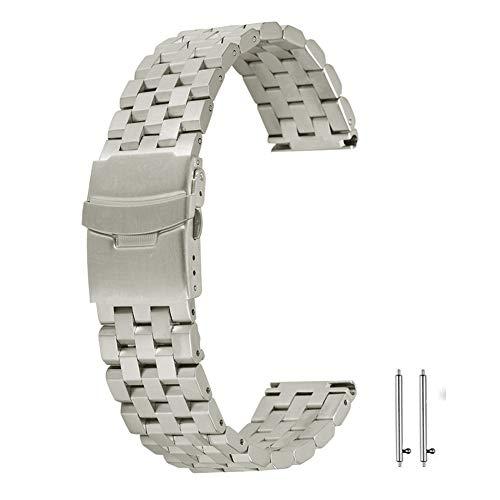 Cinturino in acciaio inossidabile da 20 mm Cinturino in metallo Cinturino con estremità dritte Solid Link Fibbia pieghevole in argento massiccio