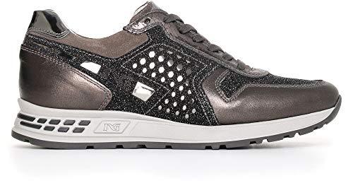 NeroGiardini A719470D Sneaker Mujer De Piel, Ante Y Tela - Antracita 35 EU (Ropa)