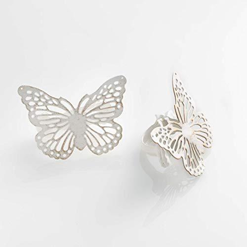 DOUCEUR D'INTERIEUR 2 Abrazaderas de Metal con diseño de Mariposa, 6,8 x 8,5 cm, Color Blanco y Dorado