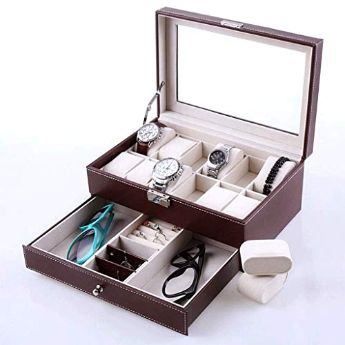 Wybfztt-188 Organizador de la caja del reloj con cajón de valet: tapa de cristal real, bandeja ajustable, bisagra de metal, diseño de fibra de carbono - 12 ranuras para estuche de almacenamiento de re
