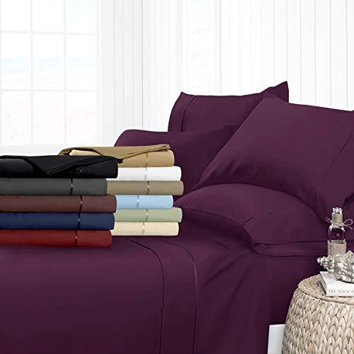Noble Comfort Linen Drap-Housse de Luxe Lisse 100% Coton égyptien 3 pièces 5–63,5 cm Motif uni 500 Fils Toutes Tailles et Couleurs (Empereur, Violet)