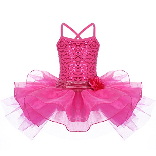 Girl's Shiny Sequin Camisole Ballerina Tutu Dress Skirted Leotard for Dance Gymnastics Ballet Ice Skate Toddler Little Girl Big Girl Hot Pink 3-4 Years