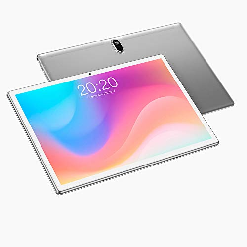 Tablet 10 Pulgadas ,Android 10 , 4G LTE, Octa-Core,64GB ROM, 4GB Ram, HD, WiFi, GPS, Dual SIM Card, Tablets,1080P (Plata)
