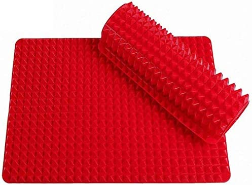 Ohequbao Non Stick Silicone Baking Pyramid Healthy Cooking Oven Mat Fat Red 2 Pack product image