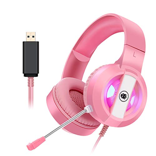 Auriculares profesionales para juegos, reducción de ruido, auriculares estéreo con micrófono con graves profundos para ordenador Gamer 7.1 canal USB Surround