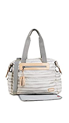 Skip Hop Messenger Diaper Bag with Matching Changing Pad, Riverside Ultra Light, Oyster Stripe