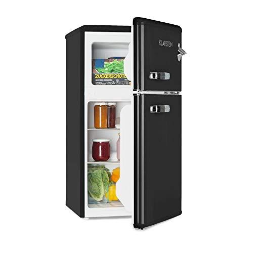 Klarstein Irene - Frigorífico combi, Volumen 61 Litros, Congelador 24 Litros, Refrigeración regulable 0-10 °C, 2 estantes, Cajón para verduras, 2 compartimentos en la puerta, Altura regulable, Negro