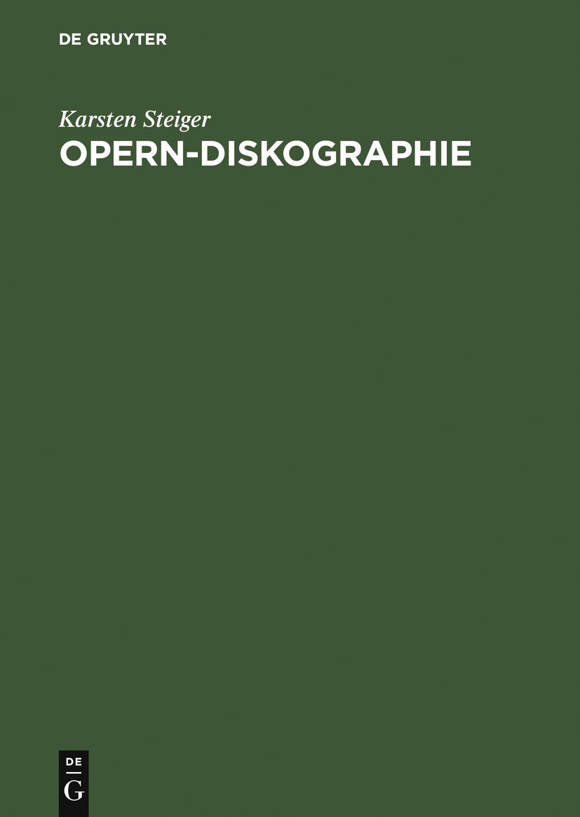 Opern-Diskographie (German Edition)