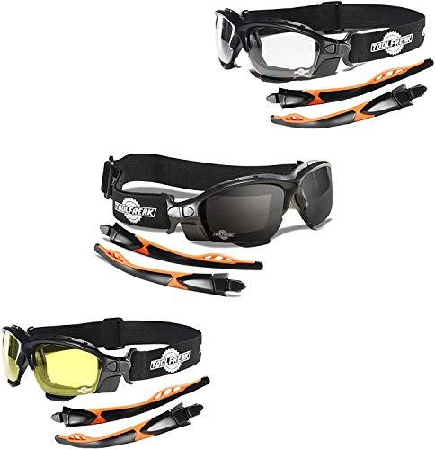 ToolFreak Spoggles Gafas de Seguridad de Trabajo y Deporte, Cristales Tintados Amarillos, Transparentes y Ahumados, Acolchadas con Espuma, Oferta de Paquete