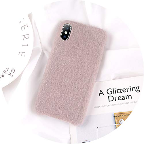 iPhone 8 7 6 6S Plus Hülle für iPhone X XR XS Max Winter Warm Pelz Cover, for iPhone XR, grau