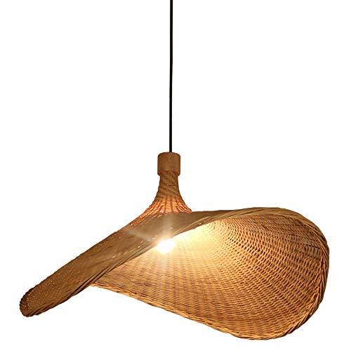 LYHY Lámpara Colgante de Tejido Vintage, candelabro de bambú Natural, Pantallas de lámpara de Mimbre y ratán, para Restaurante, Sala de té, Dormitorio, Sala de Estar, cafetería, 40 cm
