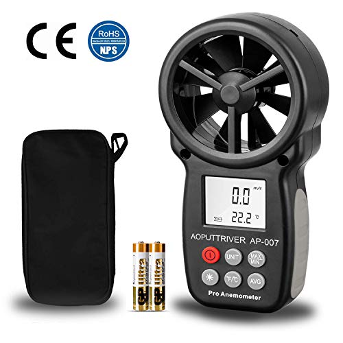 Digital Anemometer Handheld AP-007 Wind Speed Meter Gauges for Measuring Wind Speed/Temperature with Backlit and Max/Min/AVG for Shooting, Measuring HVAC installation, CFM calculation, Duct vents