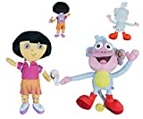Dora The Explorer - Pack 2 Peluches Dora la Exploradora con Mochila + Botas el Mono 19'/50cm Calidad Velboa
