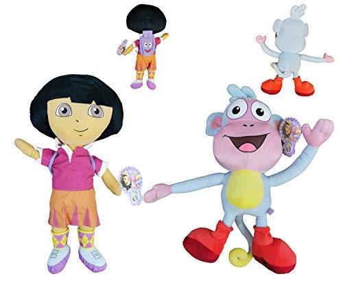 "Dora The Explorer - Pack 2 Peluches Dora la Exploradora con Mochila + Botas el Mono 19""/50cm Calidad Velboa"