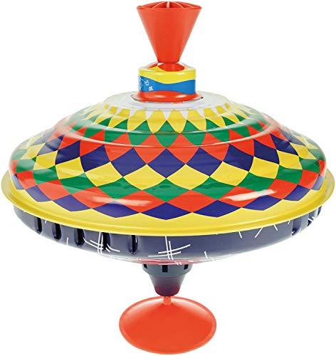 Bolz 52315 - Brummkreisel Multicolor 19 cm, Schwungkreisel aus Blech, klassischer Pumpkreisel, Blechkreisel mit farbenfrohen Motiv, Kreisel mit Standfuss, Spielzeugkreisel für Kinder ab 18m+