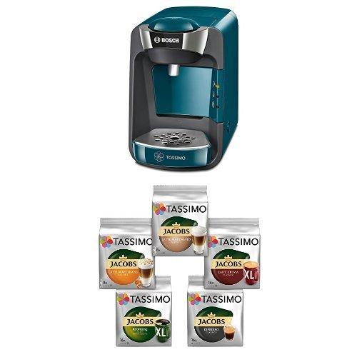 Bosch TAS3205 Tassimo T32 Suny Multi-Getränke-Automat Suny, pacific blau / anthrazit + Tassimo Vielfaltspaket - 5 verschiedene Packungen kaffeehaltiger Getränke, 1er Pack (1 x 927 g)