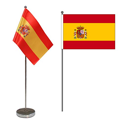 Bandera de Mesa de España 9 'x 6' - Bandera de Escritorio Español Contiene Asta de Bandera y Pedestal