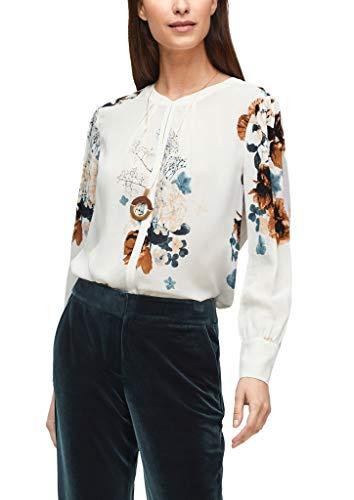 s.Oliver BLACK LABEL Damen High Neck-Bluse aus Chiffon Cream Flowers Print 42