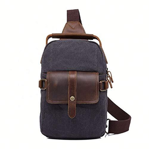 Shoulder Bag Canvas + Sick Horse Leather Chest Bag For Hiking Cycling Big Capacity Multi-function Travel Bag Backpack (Color : Black)