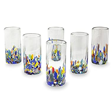 NOVICA Multicolor Eco-Friendly Hand Blown Glass Highball Glasses, Confetti Festival' (set of 6)