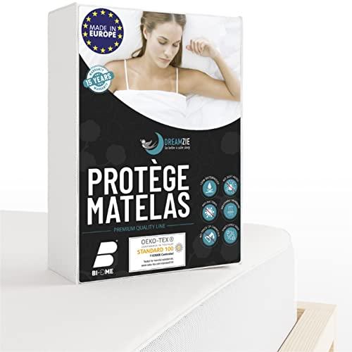 Dreamzie Protège Matelas 140 x 190/200 cm Imperméable - Alèse certifiée Oeko-TEX® Hypoallergénique, Anti-Acarien et Bactérien - Made in Europe