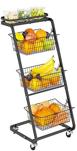 Wire Market Basket Stand with Wheels, GSlife 4 Tier Fruit Storage Basket Stand Floor Standing Storage Organizer for Fruit Vegetable Produce Kitchen Pantry Bathroom Decor, Black