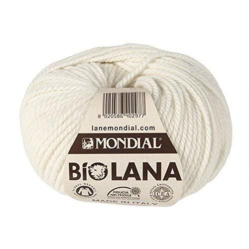 Lane Mondial 50Gramm Bio Wolle, Col. 340–natürlichen, ökologischen Wolle, Strickgarn, Häkelnadel