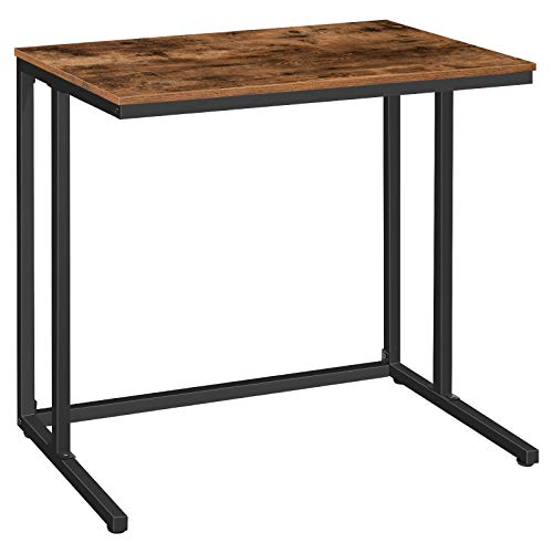 HOOBRO Schreibtisch, Kleiner Computertisch im Industriestil, PC-Tisch, Bürotisch für Home Office, 80 x 50 x 76 cm, für kleine Räume, Stabil und robust, leicht zu montieren, Dunkelbraun EBF80DN01