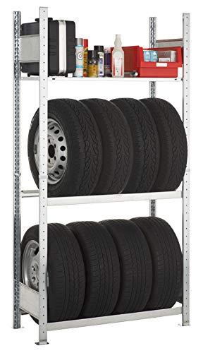 SCHULTE Lagertechnik Garagenregal-Set 1800x1000x400 mm, Stecksystem mit 2 Reifenregal-Ebenen und 1 Fachboden