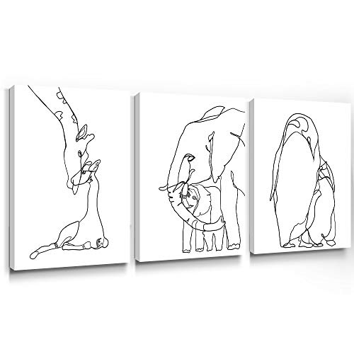 Gronda Abstract Wall Art Black and White Canvas Painting Line Drawing Picture Animals Wildlife Giraffe Elephant Penguin Prints Mother Love Home Decor for Bedroom Bathroom 12x16 inch, 3 Panels