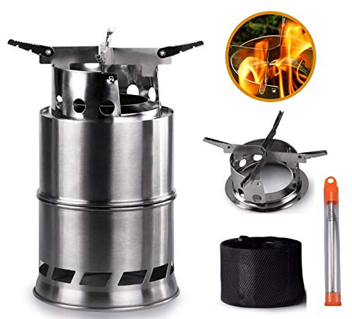 Camping Stove, Portable Backpacking Wood Stove with Collapsible Campfire Tool and Carrying Bag, Powerful Efficient Wood Burning, for Outdoor Backpacking Hiking Traveling Picnic BBQ(5.4×5.4×7.4in)