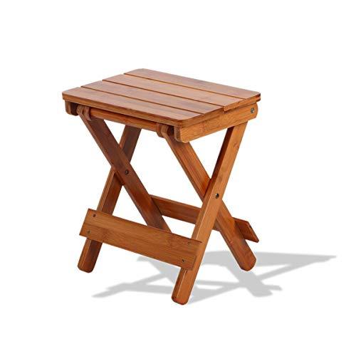 Lazmin Taburete de bambú Plegable, Taburete de Silla de Pesca Compacto y Resistente portátil, Adecuado para Usar en Sala de Estar, baño, Dormitorio, jardín
