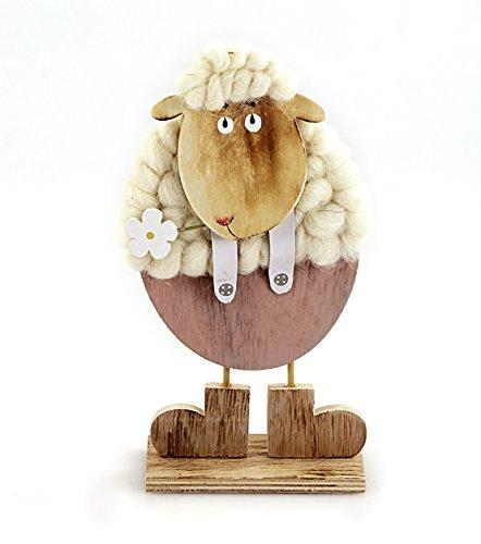 TEMPELWELT Deko Figur Schaf Schäfchen mit Blume 26 cm, Holz Natur Braun Rosa, Wolle weiß, Lämmchen Osterdeko Frühling und Ostern