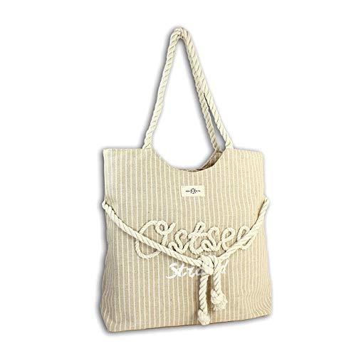 Robin Ruth XL Schultertasche Ostsee Streifen Optik Seile beige Canvas D3OTG2101C Baumwolle, Polyester Tasche für die Frau, für Jugendliche