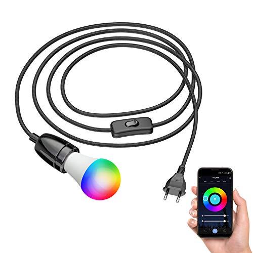 ledscom.de Cable textil LEHA II con enchufe, interruptor y toma de porcelana E27, negro, 3m, incl. lámpara LED RGBW Smart Home, 9W=73W, 1000lm