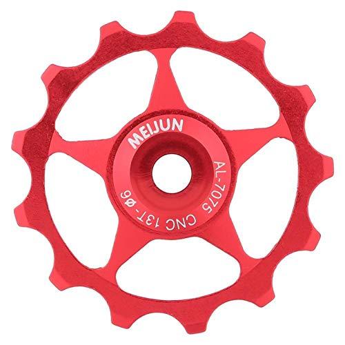 Yosoo Health Gear Ruota del Fantino per Bici, puleggia del deragliatore Posteriore in Lega di Alluminio, puleggia della Ruota Guida per Bicicletta per Bici da Strada e Mountain Bike(13T-Rosso)