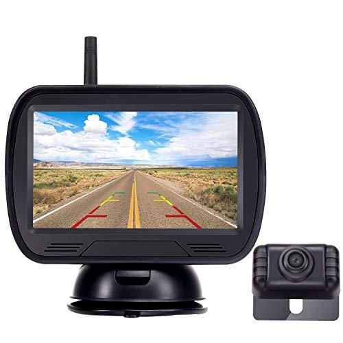 Yakry ワイヤレスバックカメラ バックカメラモニターセット 4.3インチバックモニター デジタル信号 正像/鏡像の切替可能 ガイドライン表示あり 信号安定 電磁波対策 ケーブル一本で配線終了 IP69防水 二年間安心保証
