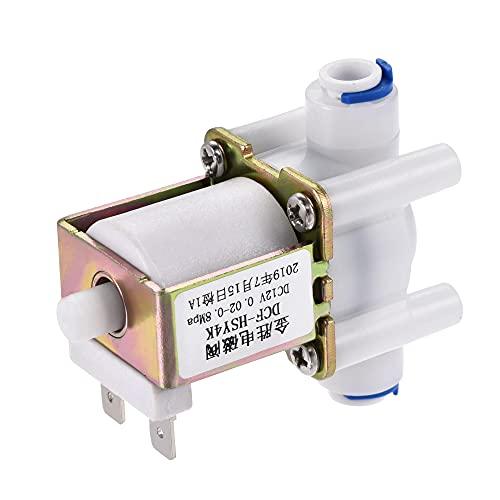 sourcing map DC12V 1/4 Hembra Plástico Agua Eléctrica Solenoide Válvula Rápido Conector Normalmente Abierta N/O Presión Agua Entrada Flujo Interruptor