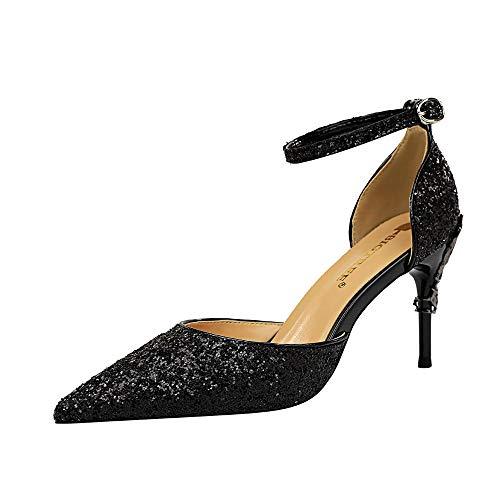 BJHSXXZ 2020 Donna Alto Tacco Partito Cinturino alla Caviglia Sandali Scarpe da Donna a Punta Alta 7.5Cm con Tacco Alto Spillo Nuziale Sposa Eleganti Moda Argento Rosso Oro Blu 34-41