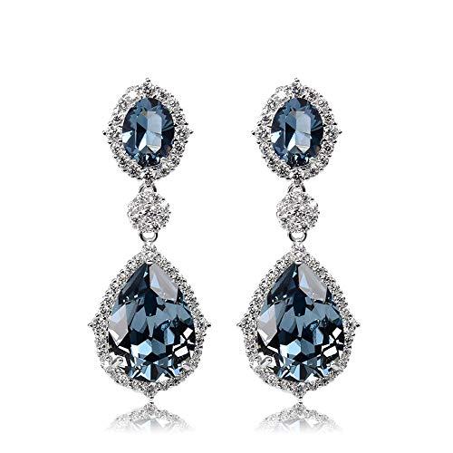 sknonr Pendientes Mujer 925 Plata Larga Cristal Austriaco Azul Pendientes Mujer