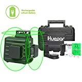 Huepar 3 x 360 Niveau Laser Croix Vert, Comprend Batterie au lithium et Étui de transport rigide, Laser Level Auto-nivellement Commutable Laser Lignes de 360 degrés, Distance de Travail 25m - B03CG