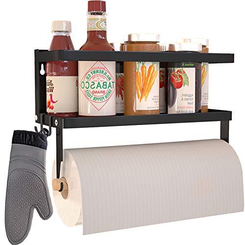 Magnetic Paper Towel Holder for Refrigerator,2-in-1 Foldable Magnetic Shelf Wall Mount Towel Rack with Hooks,Magnetic Spice Rack,Refrigerator Organizer for Kitchen (Black)