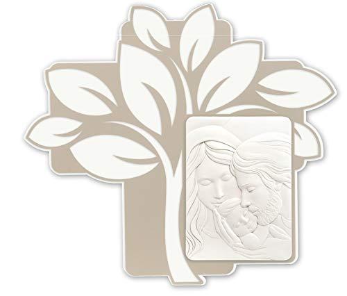 MAZZOLA LUCE Quadro capezzale Sacra Famiglia Albero della Vita Moderna per Camera da Letto Bianco Nocciola capoletto 65x70 Made in Italy