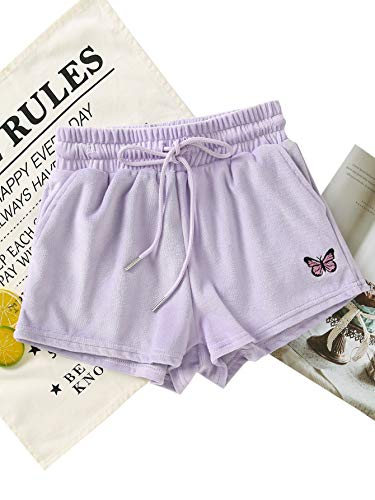 Floerns Women's Drawstring Elastic Waist Velvet Shorts with Pockets Purple S