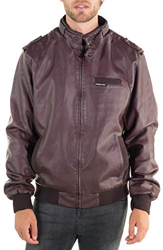 Members Only Men's Vegan Leather Iconic Racer Jacket, Burgundy, Small