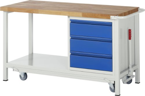 RAU A5-8157I6-15F Serie BASIC-8-Modell 8157 Absenkbare Werkbank, Ral 7035 Lichtgrau/Ral 5010 Enzianblau