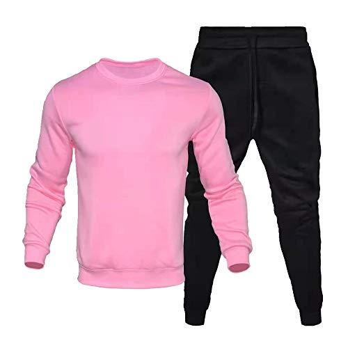 Primavera y Otoño Hombres Ocio Deportes Dos Piezas Cuello Redondo Suéter + Leggings